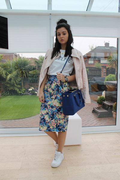 warehouse skirt - Laundry Boutique jacket - Michael Kors bag - nike sneakers