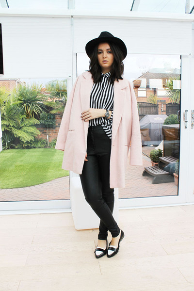 light pink River Island coat - black Miss Selfridge hat - white H&M blouse
