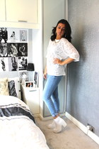 Topshop t-shirt - Topshop shoes - River Island jeans - River Island earrings