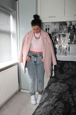 Miss Guided jumper - River Island coat - Topshop jeans - Miss Selfridge necklace
