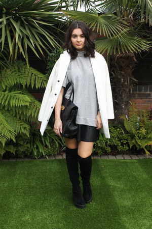 black River Island boots - white Topshop coat - black Mulberry bag