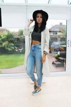 black Miss Selfridge hat - charcoal gray Topshop shoes - beige H&M coat