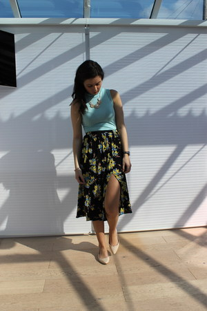 Topshop skirt - Dorothy Perkins flats - Primark necklace - Boohoo top