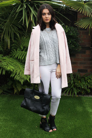 black Kurt Geiger boots - light pink River Island coat - black Mulberry bag