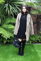 camel Marks & Spencer coat - black River Island boots