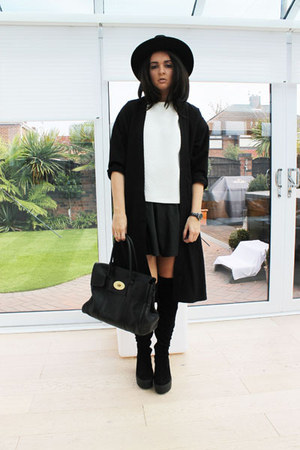 black River Island boots - black Miss Selfridge hat - black Topshop blazer