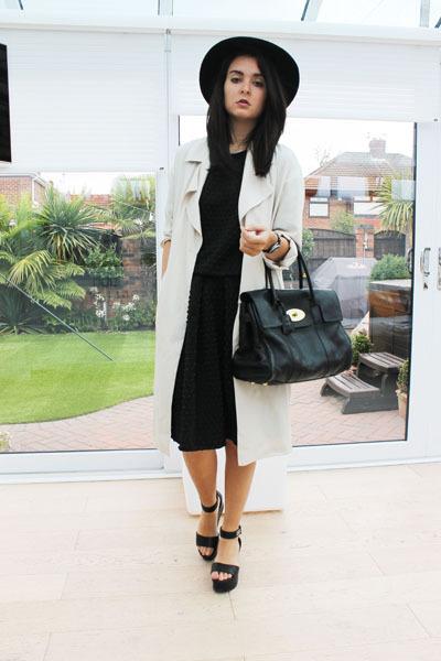 black Miss Selfridge hat - camel H&M coat - black Mulberry bag