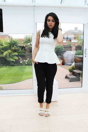 white Missguided top - black H&M pants - white Topshop sandals