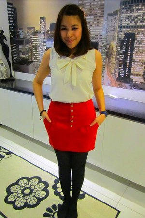 red thomas sabo accessories - blue adidas watch - red Zara skirt - cream Singapo