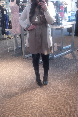 cotton on dress - BCBG cardigan - Charlotte Russe necklace - Payless stockings