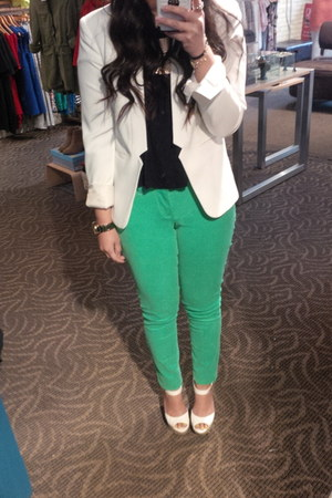 f21 blazer - lola shirt - Old Navy pants - Jessica Simpson wedges