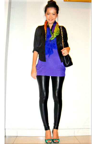 mitchybell blazer - Kate Moss for Topshop top - Mango scarf - Zara leggings - Za