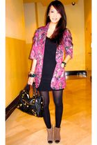 purple Retail Therapy blazer - black Topshop dress - green Zara shoes - black ba
