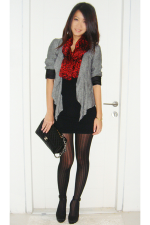 Zara blazer - Zara scarf - Topshop dress - Monroe Stay up tights stockings - mit