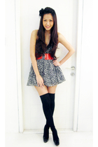 white Forever 21 dress - red Mango belt - black Topshop accessories - black Zara