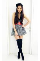 white Forever 21 dress - red Mango belt - black Topshop accessories - black Zara
