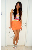 orange Topshop skirt - white Topshop shoes - white Chanel Maxi caviar purse