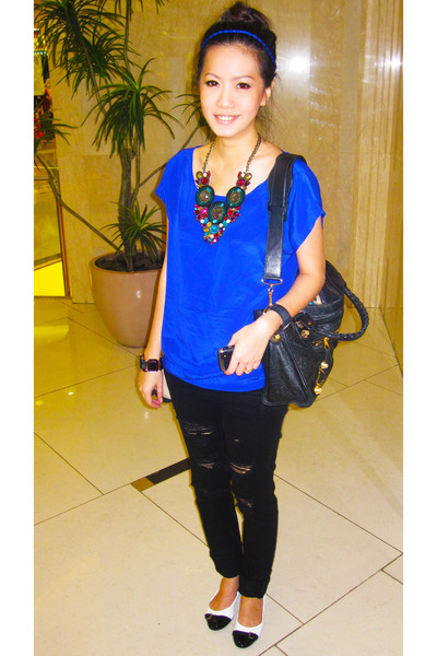 Black And Blue Blouse Breeze Clothing