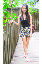 black Topshop top - black Topshop shorts - white Zara shoes - black Topshop neck