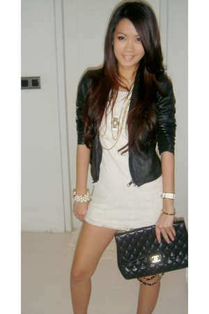 Forever2121 dress - Zara jacket - forever 21 necklace - bracelet - Chanel purse