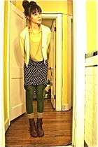 tights - thrifted boots - cropped thrifted top - Cotton  Candy skirt - cardigan