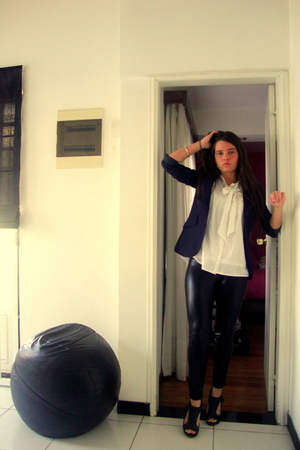 blue lolita blazer - black Zara leggings - white Zara shirt - black Aldo shoes