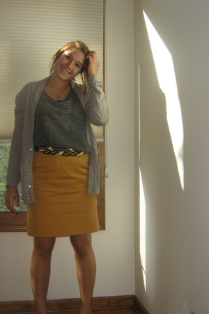 Urban Outfitters - Salvation Army belt - skirt - greenish striped -