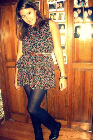 dress - tights - boots