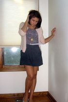 pink vintage sweater - vintage top - gray American Apparel skirt - gray vintage