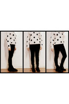 black American Apparel pants - white H&M sweater - black doc martens boots