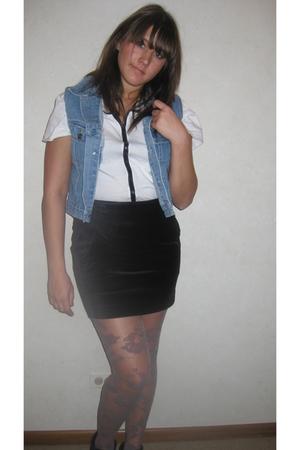 white DIY top - black H&M skirt - blue village discount vest - black village dis