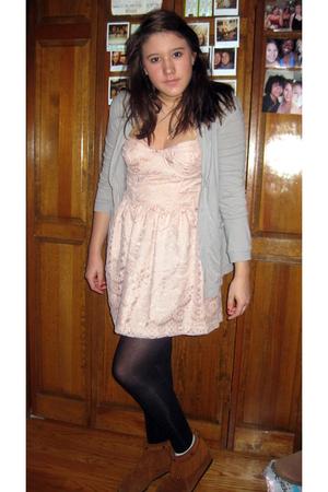 pink Topshop dress - black Target tights - brown Minnetonka boots - gray Urban O