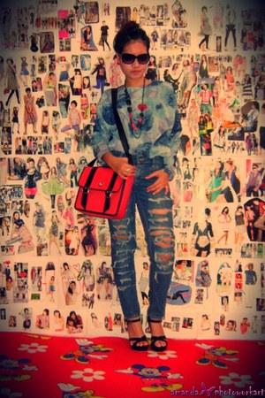 jeans - bag - Gucci sunglasses - Isabelle Adjania blouse - Prada Milano heels