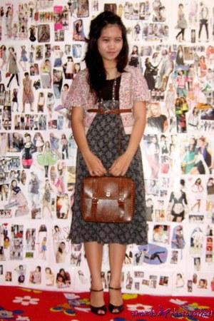 postman bag bag - tube dress dress - belt - flowery bolero cardigan - necklace