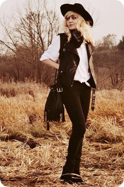 white shirt - black vest