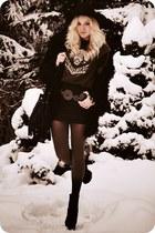black boots - light brown gradient tights - dark brown t-shirt - black skirt