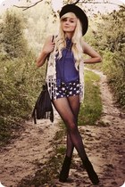 ivory vest - black boots - navy shorts