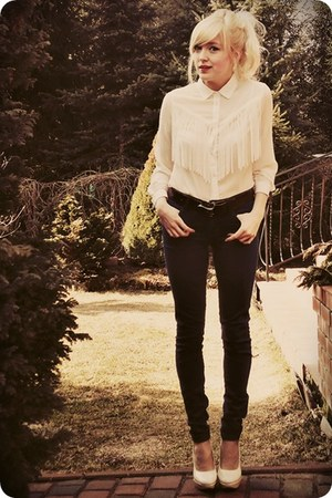 ivory shirt - navy jeans