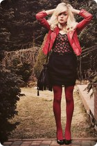 ruby red jacket - black skirt
