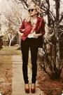 Black-jeans-ruby-red-jacket-dark-brown-bag-ivory-t-shirt