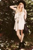 black boots - ivory dress
