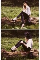 heather gray sandals - black leggings - white shirt