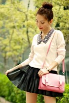 black skirt - black boots - navy ingni dress - light pink Uniqlo sweater