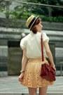 Gold-laser-cut-holes-skirt-beige-boater-hat-hat-ruby-red-satchel-bag