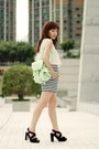 Aquamarine-backpack-choies-bag-navy-zara-shorts-off-white-zara-top