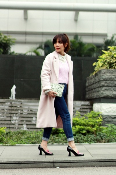 light pink EMODA coat - blue high-waisted Murua jeans - bubble gum H&M sweater