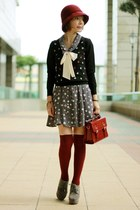 dress - suede lace up boots - cloche hat - satchel bag - Forever 21 socks
