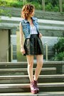 Blue-studded-denim-diy-vest-magenta-litas-exotic-jeffrey-campbell-shoes