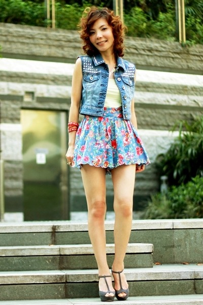 red bracelet - heather gray Miu Miu shoes - blue studded denim DIY vest
