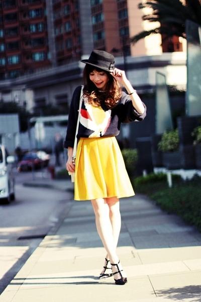 yellow pleated H&M skirt - black H&M hat - navy bird H&M sweater